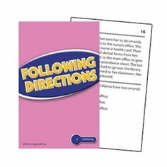 """Following Directions Reading Comprehension Practice Cards, Red Level by Edupress. $8.99. Reading Level 2.0 - 3.5. Award-winning cards help students truly understand what they read! Available in three reading levels. Each card features a leveled passage and a multiple-choice question. Color coded by level and skill. Self-checking question cards. One instruction card per set. Set of 54 3-1/2 x 5-1/2"""" cards."""