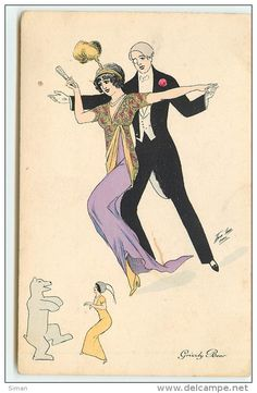 """""""Grizzly Bear"""" ~ Vintage dance postcard by Xavier Sager, ca. late 1910s"""