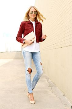 fashion jackson wearing burgundy suede jacket, white-button up shirt, ripped skinny jeans, gigi new york blush carly clutch, ray-ban aviator-sunglasses and nude pumps #streetstyle