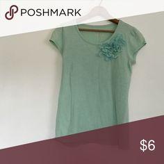Teal shirt Teal/mint green shirt with floral lace design on shirt size xsmall merona brand Merona Tops Tees - Short Sleeve