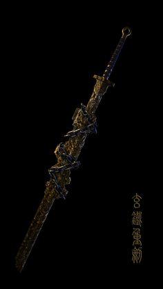 ArtStation - The sealed sword, Dong Tan Fantasy Katana, Fantasy Blade, Fantasy Sword, Fantasy Armor, Fantasy Weapons, Dark Fantasy Art, Medieval Fantasy, Samurai Weapons, Anime Weapons