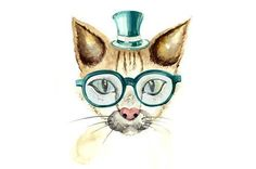 Leftbank Art Cat in Spectacles Canvas Wall Art Cat Posters, Love Posters, Cottage Furniture, All Wall, Nursery Decor, Canvas Wall Art, Holiday Decor, Cats, Picture Cat