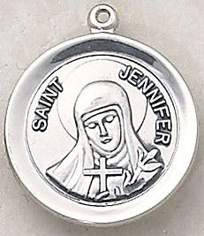 """SAINT JENNIFER MEDAL, Price includes shipping to all fifty states. Solid sterling silver medal, approx. 3/4"""" in circumference. Gift boxed with a complimentary 18"""" stainless steel chain. Carries the Creed lifetime guarantee."""