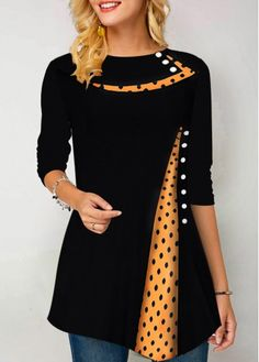 Long Sleeve Button Detail Dot Print T Shirt – sobueaty Cl Fashion, Trendy Fashion, Fashion Dresses, Latest Fashion, Cotton Kurtis Online, African Lace Dresses, Tie Front Crop Top, Trendy Tops For Women, High Collar