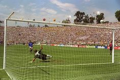 One of the costliest penalty misses in football history here, and from one of the finest players of his generation, Italy's Roberto Baggio. The 1994 World Cup final in Pasadena was the first to ever go to a shoot-out, after the game finished 0-0. Marcio Santos missed for Brazil, but Franco Baresi, Daniele Massaro and Baggio all missed for the Italians. Italy featured in another World Cup final penalty shoot-out in 2006, and on that occasion in Germany they were successful, beating France
