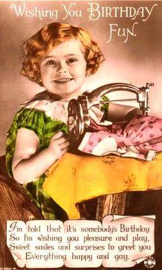 Vintage sewing birthday card