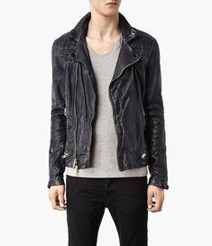 c0a1f75f41 All Saints Conroy Leather Biker Moto Jacket Black Ink Navy XS jeans coat  suede