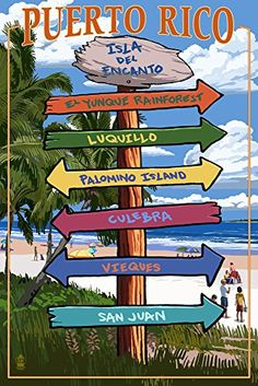 Isla del Encanto Puerto Rico  Destination Signpost 16x24 Giclee Gallery Print Wall Decor Travel Poster >>> You can get additional details at the image link.