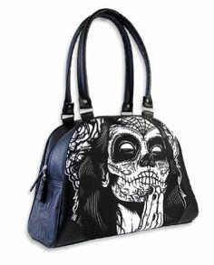 Liquorbrand Gypsy 4 Praying Day of the Dead Woman Tattoo Skull Handbag Purse