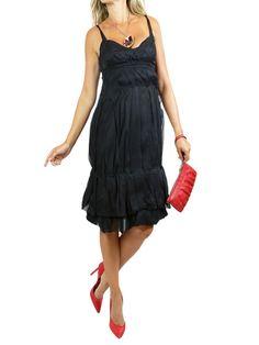 PRADA Black Chiffon Silk Cocktail Dress.42/M $250 http://www.boutiqueon57.com/products/prada-blk-dress