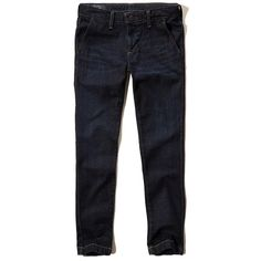 Hollister Skinny Trouser Jeans (585 CZK) ❤ liked on Polyvore featuring men's fashion, men's clothing, men's jeans, dark wash, mens distressed jeans, mens ripped jeans, mens denim jeans, mens dark wash jeans and mens destroyed jeans