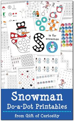 17 pages of free snowman do-a-dot worksheets to help kids ages 2-6 work on one-to-one correspondence, shapes, colors, patterning, letters, and numbers.
