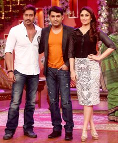 Ajay Devgn and Kareena Kapoor Khan with 'Comedy Nights With Kapil' host Kapil Sharma #Style #Bollywood #Fashion #Beauty