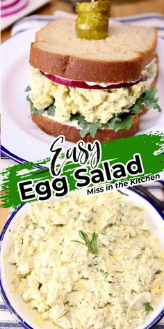Egg Salad is a great option for a quick and easy meal for breakfast, lunch or dinner. Simple to make ahead and keep on hand for busy schedules. Egg Recipes, Lunch Recipes, Gourmet Recipes, Soup Recipes, Great Recipes, Dishes Recipes, Sandwich Recipes, Easy Egg Salad, Ham And Eggs