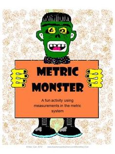 FREE - Metric Monster - measurement activity, perfect for Halloween, or anytime.  Finished monsters make cute classroom decorations.