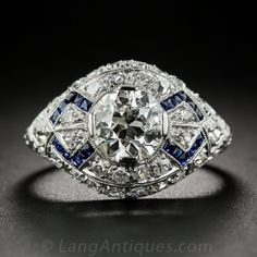 1.23 Carat Diamond Art Deco Engagement Ring with Calibre Sapphires