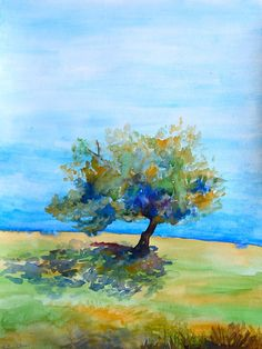 Pear Tree Watercolor Landscape Painting Original by WoodPigeon, $134.00