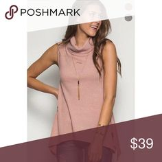 Blush Sleeveless Top So cute and comfy! Ribbed with relaxed flare at the bottom. Tops
