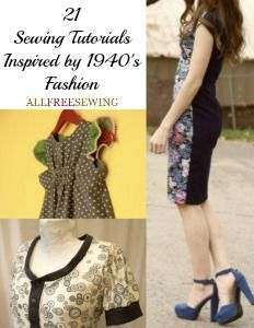 """There's something incredibly attractive about fashion from the 1940s. With special attention to cuts that fell on all the right places, this was a period that defined what is today known as """"classic"""". These 21 Sewing Tutorials Inspired by 1940's Fashion seek to emulate a style that inevitably becomes any woman. Learn how to sew clothes that accentuate your waist with these dress pattern tutorials."""
