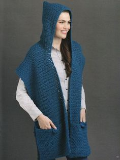 Be stylish as you romp, play, shop or travel while wearing this crocheted wrap. The Button-Flap Pockets shawl is made in two strips, with an added hood and two pockets. The pockets are the distinguishing feature of this crochet shawl allowing you to open Crochet Hooded Scarf, Crochet Hoodie, Crochet Scarves, Crochet Clothes, Knit Crochet, Hooded Scarf Pattern, Loom Knitting, Knitting Patterns, Crochet Patterns