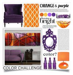 """Color Challenge: Orange and Purple"" by danielle-broekhuizen ❤ liked on Polyvore featuring interior, interiors, interior design, maison, home decor, interior decorating, Lite Source, Kosta Boda, Grandin Road et LSA International"