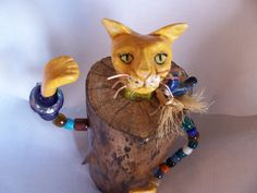 Cat Table Sculpture Art Doll Polymer Clay and Wood by Putterpaws