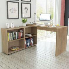 Oak Corner Desk L Shaped Computer Table Bookcase 4 Shelves Top Quality Material #VXL #Desks