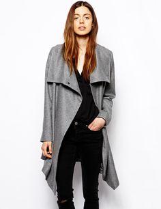 Grey Long Sleeve Lapel Oversized Outerwear 35.99