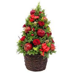 クリスマスにも♪【生花】クリスマスアレンジ ツリー仕立て