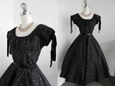 1950s Vintage Black Dress with Flowers,  Velvet Trim and Shelf Bust VLV by vintagebluemoon on Etsy https://www.etsy.com/listing/125766696/1950s-vintage-black-dress-with-flowers