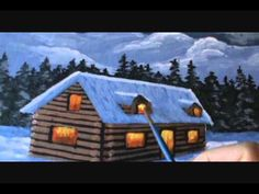 How to Paint Christmas Cards 1 painting art Mountain Cabin Snow class acrylics on canvas