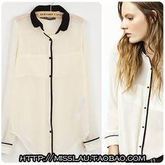 Big women's spring 2013 collection of European and American wind white shirt joker chiffon stitching shirt