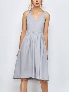 Knee Length A Line Dress - GRAY S