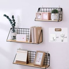 Wooden Iron Wall Shelf Wall Mounted Storage Rack Organization For Kitchen Bedroom Home Decor Kid Room DIY Wall Storage Shelves Wall Shelf Rack, Wall Storage Shelves, Wooden Wall Shelves, Shelves In Bedroom, Hanging Shelves, Diy Storage, Diy Organization, Bedroom Wall, Book Storage