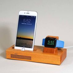 Handmade Wooden Docking Station with Audio Amplifier for iPhone and Apple Watch