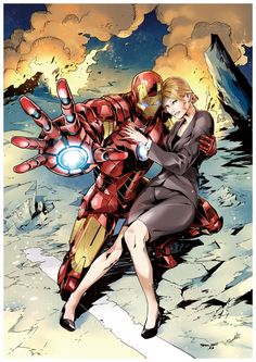 iron man, pepper potts, and tony stark (iron man 3 and marvel) drawn by fuse ryuuta - Danbooru Marvel Comics, Arte Dc Comics, Hq Marvel, Bd Comics, Marvel Heroes, Comic Book Characters, Marvel Characters, Comic Character, Comic Books Art