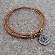 wisdom - Greek leather wrap bracelet Tree of Life charm