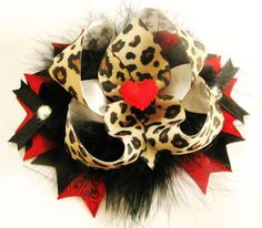 Valentine's Day Hair Bow Leopard OTT Red Hearts Animal Print Pink Cheetah
