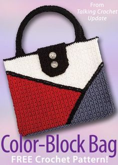 "Color-Block Bag Download from Talking Crochet newsletter. Click on the photo to access the free pattern. Sign up for this free newsletter here: <a href=""http://AnniesNewsletters.com"" rel=""nofollow"" target=""_blank"">AnniesNewsletters...</a>."