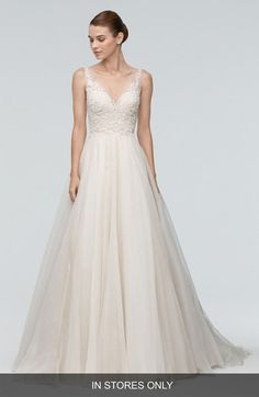 Main Image - Watters 'Janet' Embellished Tulle & Organza A-Line Gown (In Stores Only)