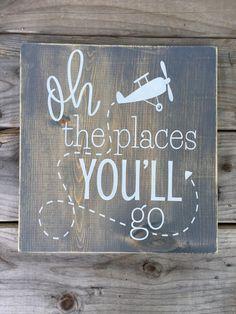 Oh the places you'll go, nursery, little boys room, airplane, rustic nursery