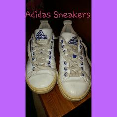 Adidas Sneakers Cute and fun sneakers in purple and white leather.  Gently used condition. Adidas Shoes Athletic Shoes