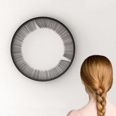 bina baitel's lash clock gently strokes passing time Unusual Clocks, Cool Clocks, Time Design, 3d Design, Clever Design, Instalation Art, Wall Clock Design, Clock Art, Wooden Clock