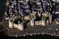 aerial photographs of Caernarfon in North Wales UK