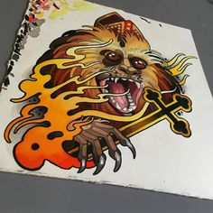 This'll be a sticker hopefully! Should get it printed for in a couple of weeks time! Monkey King, Neo Traditional, Frost, Stickers, Tattoos, Prints, Sketch, Couple, Instagram