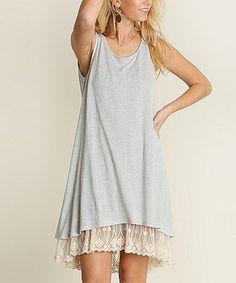 Another great find on #zulily! Silver Lace-Hem Shift Dress #zulilyfinds
