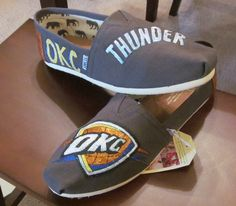 Custom Painted OKC Thunder Toms Grey by BelsieDesigns on Etsy, $80.00
