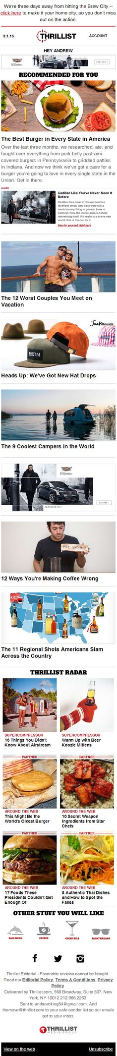 Great content and easy to read responsive design from Thrillist