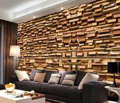 product image Brick Wallpaper Mural, Wallpaper Roll, 3d Design, Vertical Pallet Garden, Wood Panel Walls, Wood Bedroom, Wood Blocks, Deco, Montage