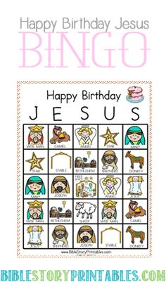 Happy Birthday Jesus Bingo printable and Nativity Printable Play Set Christmas Bingo Game, School Christmas Party, Preschool Christmas, Christmas Nativity, Christmas Crafts For Kids, Christmas Activities, Christmas Printables, Christian Christmas Crafts, Christmas Dinners